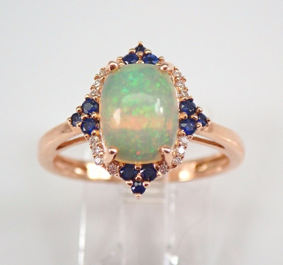 14K Rose Gold Opal Diamond and Sapphire Halo Engagement Ring Size 7 October Gem FREE Sizing