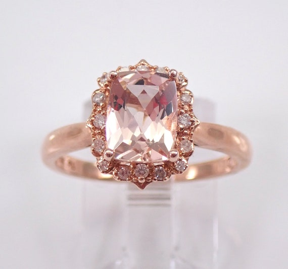 Morganite and Diamond Halo Engagement Ring Cushion Cut Rose Gold Solitaire Size 7 FREE Sizing