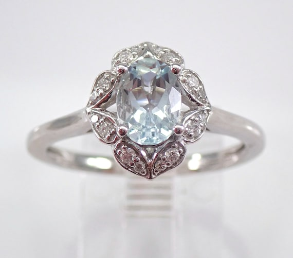 Diamond and Aquamarine Halo Engagement Ring White Gold Size 7.25 March Birthday FREE Sizing