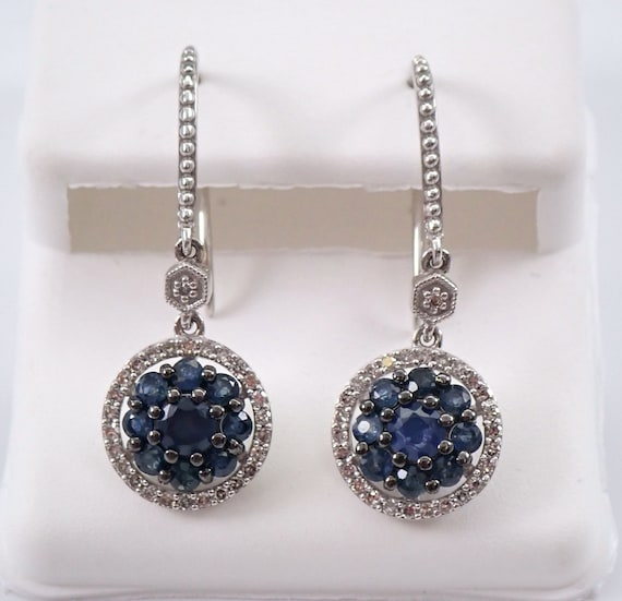 Sapphire and Diamond Cluster Earrings Halo Drop Dangle White Gold Kidney Wire Hook
