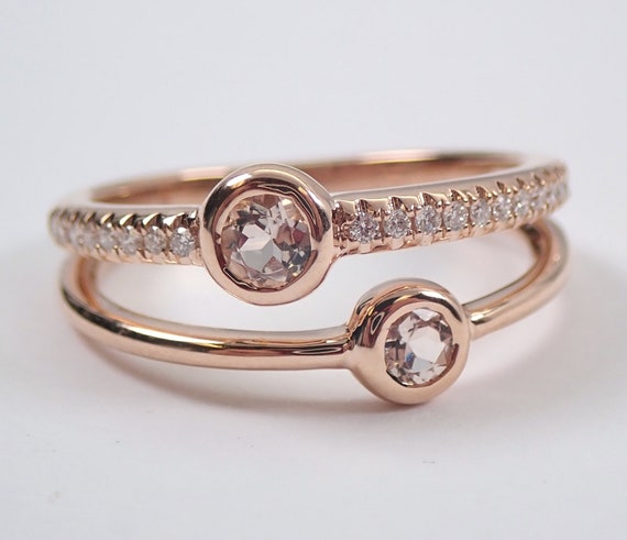14K Rose Gold Morganite and Diamond Stackable Anniversary Ring Multi Row Wedding Band Modern Jewelry FREE Sizing