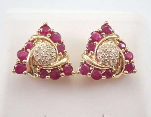 Ruby and Diamond Stud Earrings Cluster Studs Yellow Gold July Birthstone