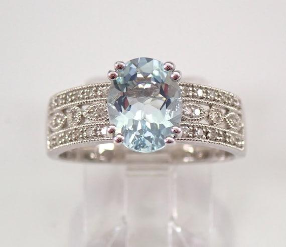 1.95 ct Diamond and Aquamarine Engagement Ring Aqua White Gold Size 7 March Gemstone FREE Sizing