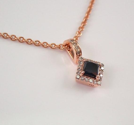 "Black Princess Cut Diamond Halo Pendant Necklace Rose Gold 19"" Adjustable Chain"