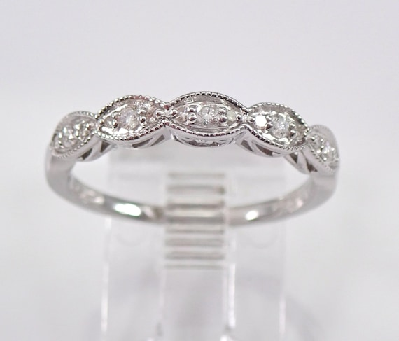 Diamond Wedding Ring Anniversary Band 14K White Gold Sizable Size 7 Stackable FREE SIZING