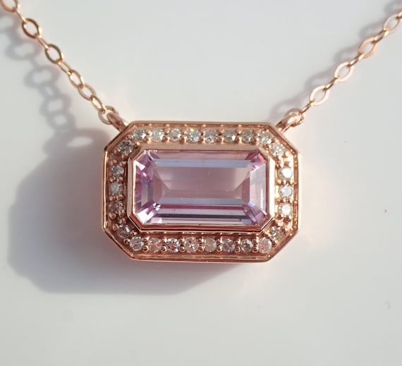 """Rose Gold Diamond and Emerald Cut Amethyst Necklace Pendant 17"""" Chain"""