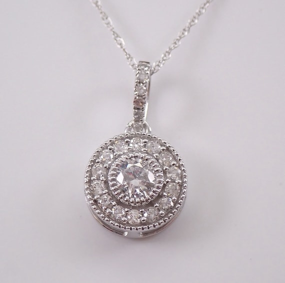 "14K White Gold Diamond Halo Pendant Necklace 18"" Chain Genuine Natural Round"