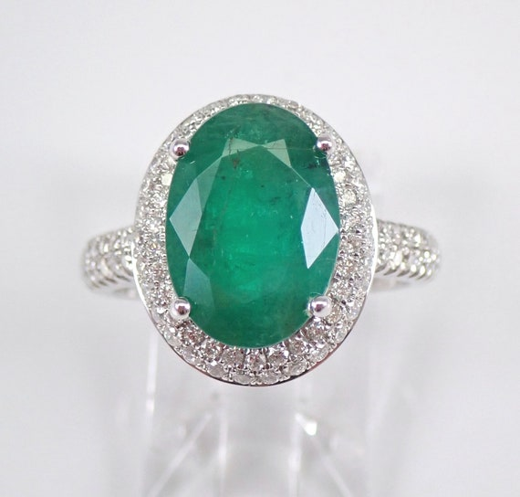 14K White Gold 5.00 ct Diamond and Emerald Halo Engagement Ring May Gemstone Size 6.5 FREE Sizing