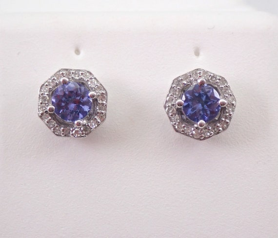 Tanzanite and Diamond Stud Earrings Halo Studs 14K White Gold December Birthstone