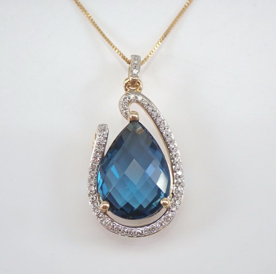 "14K Yellow Gold 6.35 ct London Blue Topaz and Diamond Halo Pendant Necklace 18"" Chain"