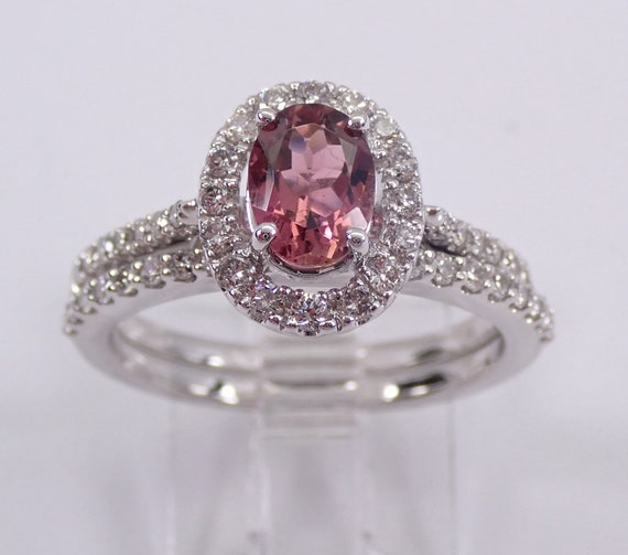 Pink Tourmaline and Diamond Engagement Ring Wedding Band Set 14K White Gold