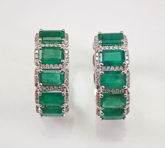18K White Gold 5.54 ct Diamond and Emerald Hoop Earrings Hoops May Gemstone