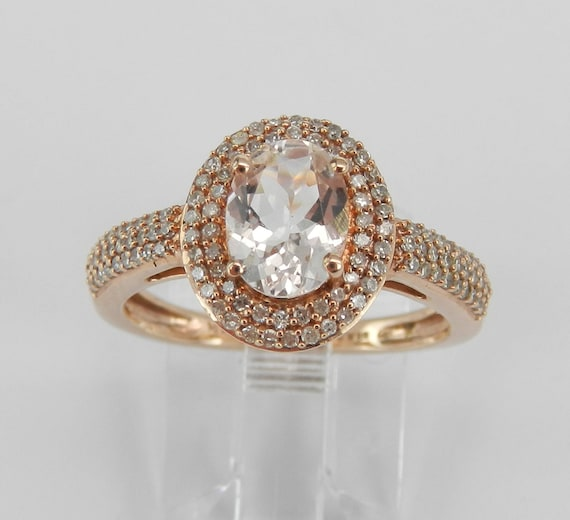Morganite and Diamond Double Halo Engagement Ring Rose Gold Size 7 FREE Sizing