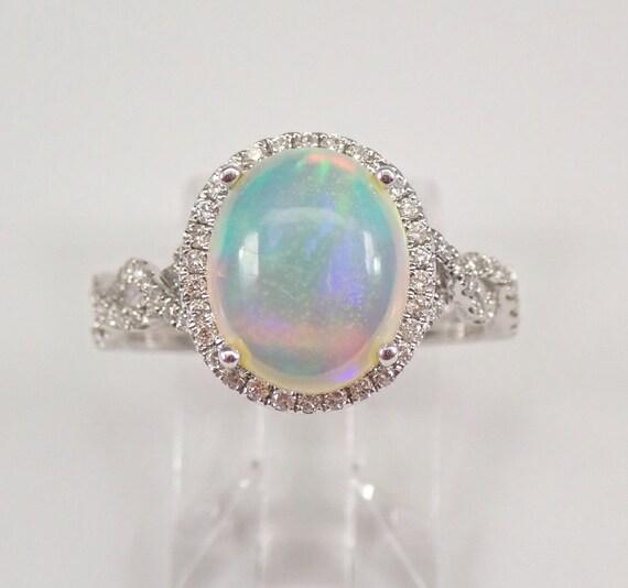 14K White Gold 2.45 ct Diamond and Opal Halo Engagement Ring Size 7 October Gemstone FREE Sizing