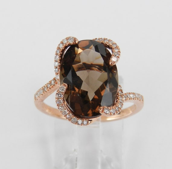 5.35 ct Diamond and Smokey Topaz Engagement Ring Rose Gold Size 7 Modern Design