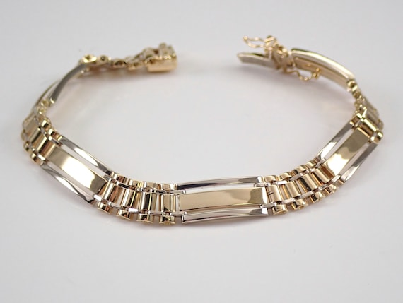 """Mens 14K White and Yellow Gold Link Bracelet 8"""" GREAT GIFT"""