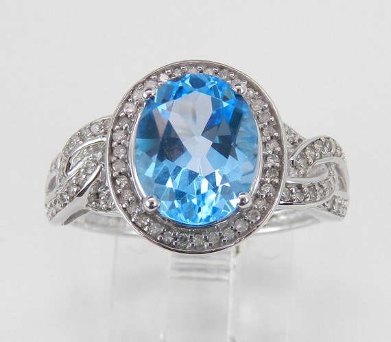 3.50 ct Diamond and Blue Topaz Halo Engagement Promise Ring White Gold Size 7 FREE Sizing