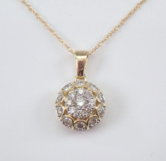 "14K Yellow Gold Diamond Cluster Pendant Necklace Chain 18""  FREE SHIPPING"