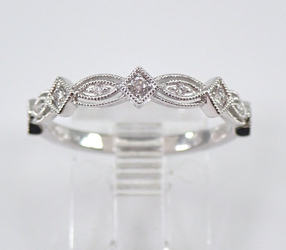 Diamond Wedding Ring Anniversary Band White Gold Sizable Size 7 Stackable