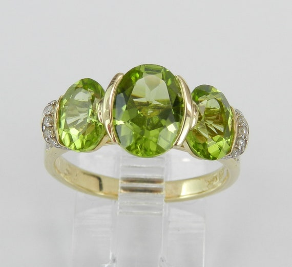 Peridot Ring, 14K Yellow Gold Three Stone Ring, Diamond Engagement Ring, Anniversary Ring, Size 5, August Birthstone Gem FREE Sizing