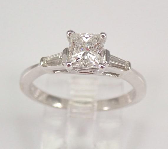 14K White Gold 1.02 ct Princess-Cut Diamond Engagement Ring Traditional Size 6.5