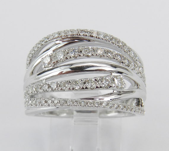 14K White Gold 1.00 ct Diamond Crossover Ring Multi Row Anniversary Band Size 7
