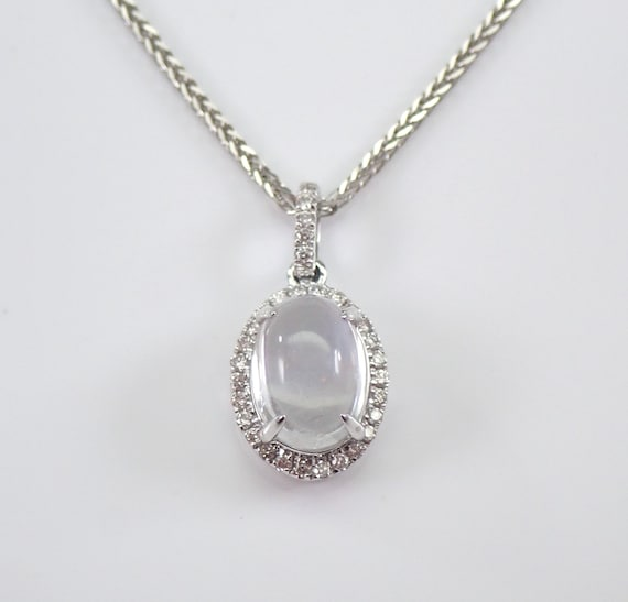 "14K White Gold Diamond and Moonstone Halo Pendant Necklace 18"" Chain"