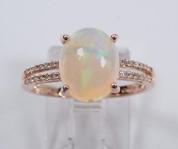 Rose Gold Opal and Diamond Engagement Ring Split Shank Size 7 October Gemstone