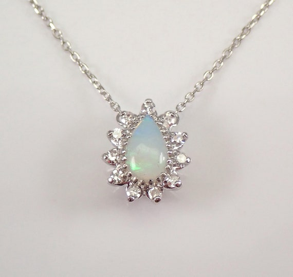 """14K White Gold Diamond and Opal Halo Pendant Necklace 16"""" Chain October Birthstone"""