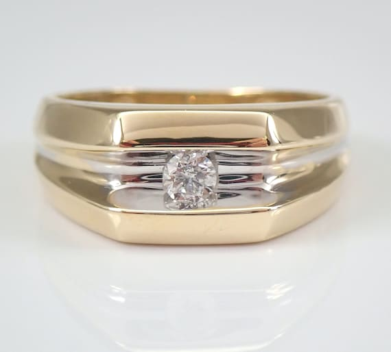 Mens Solitaire Diamond Wedding Engagement Ring Pinky Ring Yellow Gold Size 8