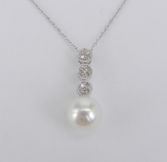 "14K White Gold Diamond and Pearl Pendant Necklace with Chain 18"" June Birthday"