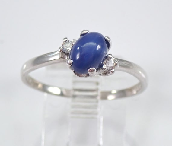 Vintage Estate Star Sapphire Engagement Ring White Gold Size 7.75 September Birthday