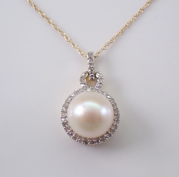 "Yellow Gold Diamond and Pearl Halo Pendant Necklace with Chain 18"" June Gemstone"