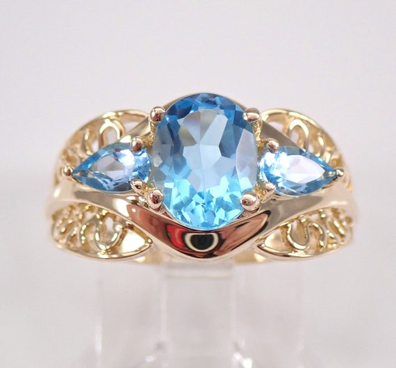 Estate Vintage Blue Topaz Three Stone Ring 14K Yellow Gold Size 6.25 December Gemstone FREE Sizing