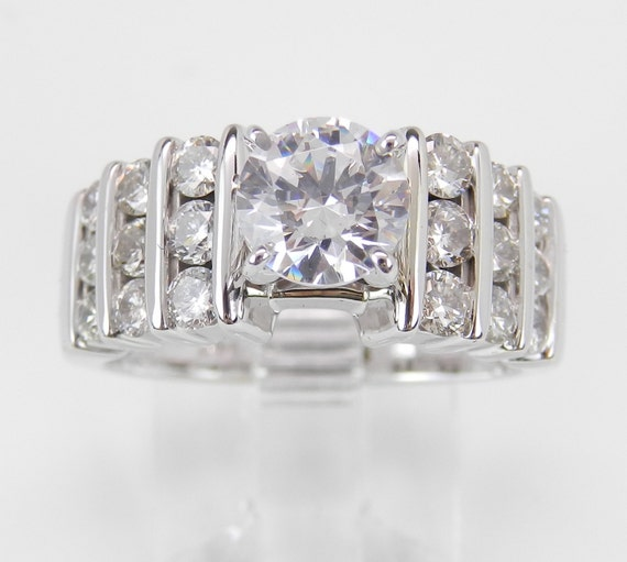 Diamond Engagement Ring Setting Semi Mount Mounting 14K White Gold Promise Ring