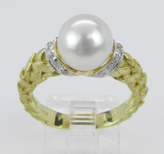 Diamond and Pearl Engagement Promise Ring 18K Yellow Gold Size 7.25 FREE Sizing