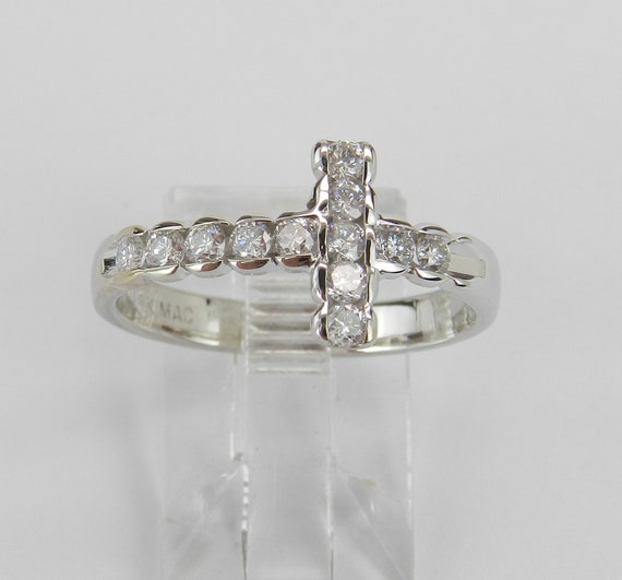 14K White Gold Diamond Cross Ring Unique Religious Christian Prayer Promise Size 8