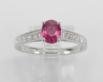 18K White Gold Diamond and Ruby Engagement Ring Size 6.75 July Birthstone FREE SIZING