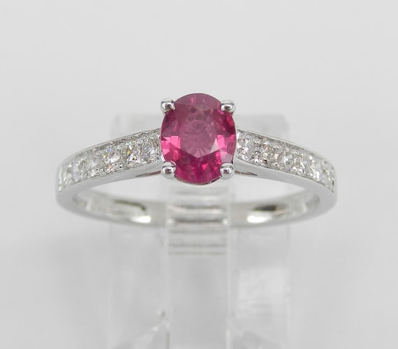 Ruby and Diamond Ring, Ruby Engagement Ring, 18K White Gold Ruby Ring, July Birthstone Ring, Gift for new mom, Ruby Promise Ring