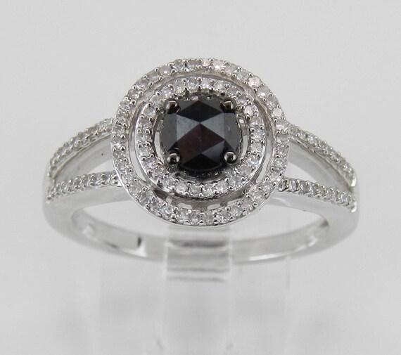 White Gold Black Diamond Double Halo Engagement Ring FREE SIZING