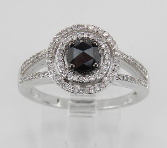 White Gold Black Diamond Double Halo Engagement Ring