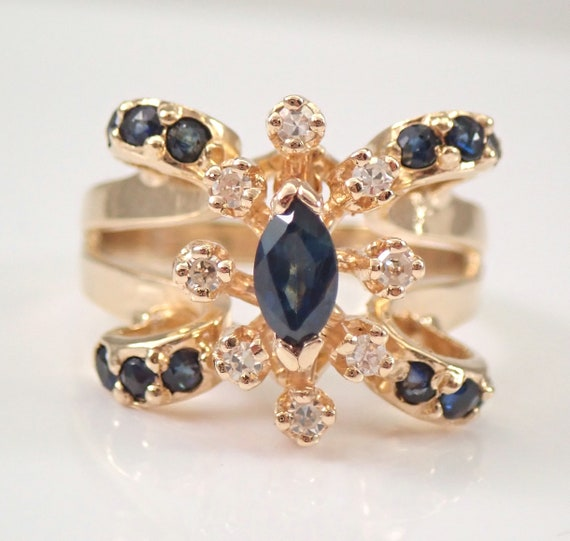 Vintage Estate 14K Yellow Gold Diamond and Sapphire Engagement Ring Size 7.25