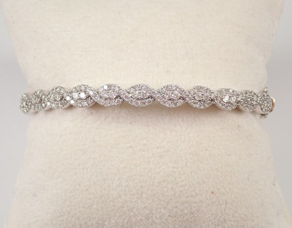 14K White Gold 1.50 ct Diamond Bangle Bracelet Hinged Statement #PERFECT GIFT