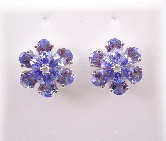 Tanzanite and Diamond Stud Earrings Flower Cluster Wedding Studs White Gold December Gemstone