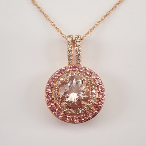 """Morganite Pink Tourmaline and Diamond Double Halo Pendant Rose Gold Necklace 18"""" Chain"""