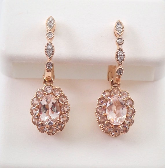 Morganite and Diamond Halo Dangle Earrings Rose Pink Gold Unique Flower Design