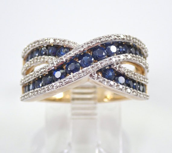 14K Yellow Gold Diamond and Sapphire Wedding Ring Crossover Anniversary Band Size 7 September Gemstone FREE Sizing