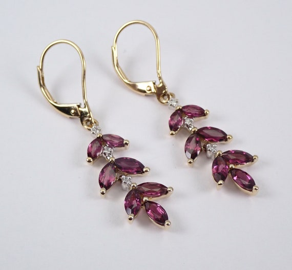 14K Yellow Gold Rhodolite Garnet and Diamond Dangle Drop Earrings Leverback