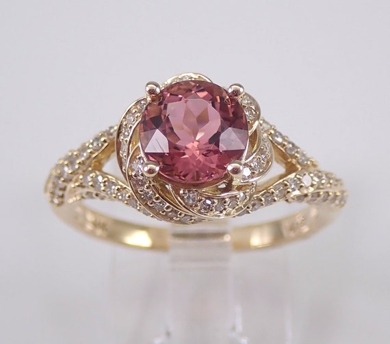 Pink Tourmaline and Diamond Halo Engagement Ring 14K Yellow Gold Size 7 October Gemstone Round Halo Twist