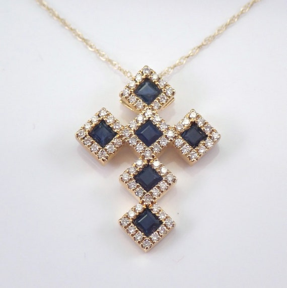"Yellow Gold Diamond and Sapphire Cross Pendant Necklace 18"" Chain Religious Charm"
